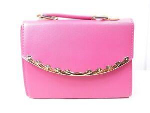 East Women Pink Gold Trim Handbag Small Clutch Shoulder Crossbody Ladies Purse