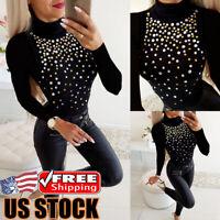 Women Turtleneck T-Shirt Tops Ladies Casual Crystal Long Sleeve Slim Fit Blouse