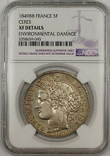 1849BB Ceres France 5F Francs Silver Coin NGC XF Details Environmental Damage