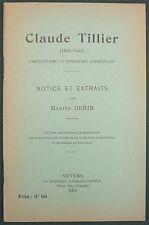 CLAUDE TILLIER PAR MARIUS GERIN - ROPITEAU 1905 - POESIE NIEVRE CLAMECY