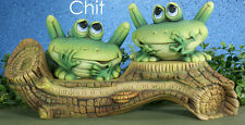 Ceramic Bisque Ready to Paint Chit and Chat Frogs on a Log