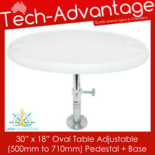 "BOAT CARAVAN WHITE 30"" X 18"" OVAL TABLE WITH ADJUSTABLE HEIGHT PEDESTAL & BASE"