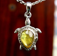 Dominican Amber Fossil Flying Insect Spider  Solid .925 Sterling Silver Pendant