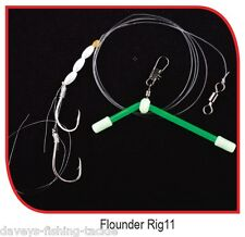 2 IMAX Flounder Rigs for Sea Fishing Beachcaster Boat Rods Plaice Flatfish Lures Rig-11 Boom Bait Pearl White Beads 2 Hook 1 & 1/0