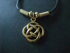 CELTIC MYSTICAL ROUND KNOT GOLD COLOUR CORD NECKLACE new gift pouch