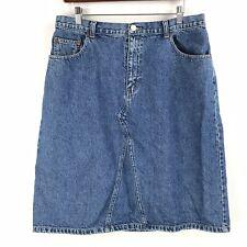 Vintage Crossroads Womens Denim Jean Skirt Size 14 All Cotton Made in Usa Modest