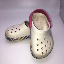 Crocs Toddler Kids White Aztec Print Slip On Clogs Size C 7 Children's
