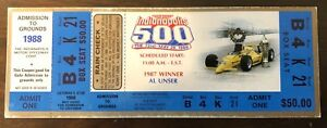 Complete 1988 Indianapolis 500 Indy 500 Motor Speedway Race Complete Ticket Stub