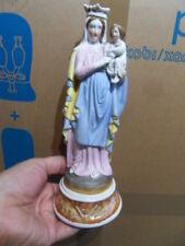 Antique virgin lady statue Vierge et l'enfant jesus en porcelaine biscuit