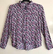 H&M Floral Long Sleeve Shirt 10 Button Down Cuff Sleeves EC