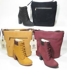 Timberland Tillston Combo High Heel Boots With matching Hobo Bag Blk Brown Wheat