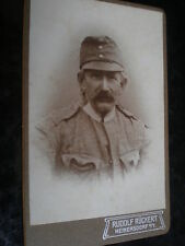 Cdv old photograph soldier by Ruckert at Heinersdorf Germany c1890s Ref 506(5)