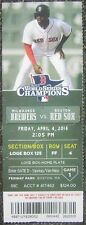 April 4, 2014 Red Sox Opening Day Loge Box Ticket picturing Jackie Bradley, Jr.