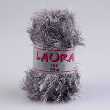 """100g Fransengarn """" Laura Mittelgrau """" Fransenwolle Wolle stricken Brazilia"""