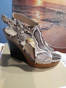 Mkors Josephine Wedge Embossed Leather. Size 9. New With Box.