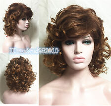 Fashion Women Sexy Brown red Medium Hair Wavy Curly wig free shipping