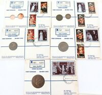 """1972 RARE SET of 5 COOK ISLANDS REGISTERED FDC's """"FIRST COINAGE"""" ROYAL WEDDING."""