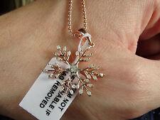 "Charming Real Diamond Snowflake 14K Rose Gold/925 18"" Pendant Necklace"