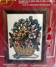 Loop Embroidery Kit Rush n Punch by Boye SPRING BOUQUET 5x7 floral basket