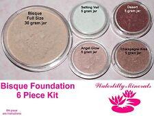 6 Pc Lot Bisque Minerals Set Bare Makeup Foundation Kit Blush Bronzer New/Sealed