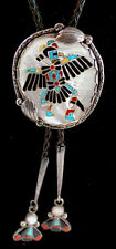 "Zuni Frank Vacit attr. Eagle Dancer Kachina Bolo ""Book Piece"" Mosaic Inlay Shell"
