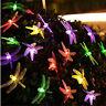 Solar Powered 20 LED Dragonfly String Light Garden Path Yard Decor Lamp Outdoor