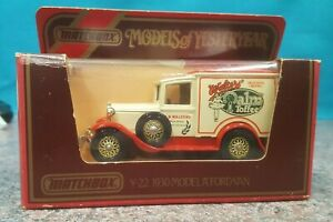 MATCHBOX MODELS OF YESTERYEAR Y-22 1930 MODEL 'A' FORD VAN 1:40 SCALE CAR