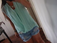 Seide Wickel Bluse Neu S M L Top Blogger Shirt Trendy Tunika Chic Musthave Mint