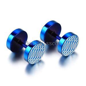Men's Stainless Steel White Helicoid Pattern Dumbbell Ear Blue Stud Earrings