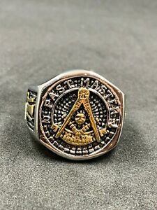 Men Past Master Degree Masonic Ring York Rite Freemason Gold Tone