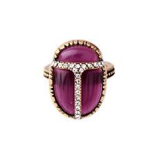 Bague Doré Art Deco Coccinelle Insect Violet Marron Bordeaux Retro T53 S7 Z3