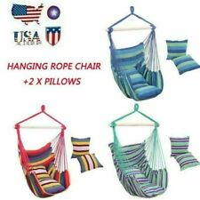 Hammock Chair Patio Porch Yard Tree Hanging Air Swing Seat Rope Chair +2 Pillows