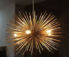 MID CENTURY STARBURST CHANDELIER BRASS LIGHT FIXTURE MODERNIST SPHERE SPUTNIK