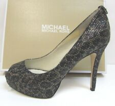 Michael Kors Size 7 Black Gold Cheetah Glitter Heels New Womens Shoes
