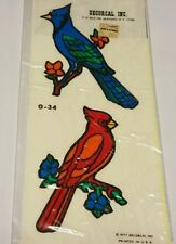Vintage bird Decal hand painted DECORCAL G-34 vintage stickers bluejay cardinal