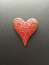 NEW ST JOHN KNIT WOMENS DESIGNER JEWELRY GOLD HEART PIN RED CRYSTALS