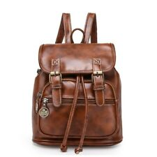 Women Vintage Bags Brown High Quality Zipper Leather Embossing Small Backpack