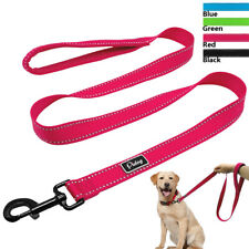 "48"" Reflective Nylon Dog Leash Pet Walking Lead with Soft Mesh Handle Black Blue"