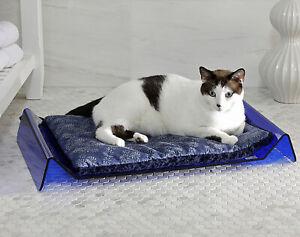 "NEKO HABITAT Luxe SMOKE ""Wave"" Acrylic Pet Bed w/ reversible cushion"