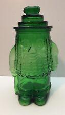 """Planters Mr Peanut Green Lidded Carnival Pressed Glass Canister Jar Vintage 13""""H"""