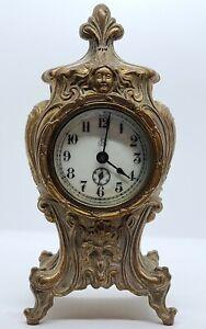 Antique 1894 Jennings Bros Figural Victorian Gold Gilt Art Nouveau Mantel Clock