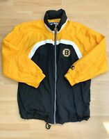 VIntage Starter Boston Bruins NHL Full Zip Hooded Windbreaker Jacket Size L