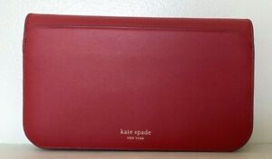 New Kate Spade New York Nadine Medium Clutch wallet Leather Hot Chili
