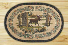 NEW Moose Walking in the Forest Woods Pine Jute Fiber Braided Oval Rug Mat
