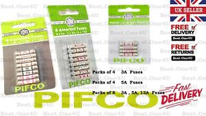 Fuses PIFCO Pack Of 4/8 Cartridge 3/5/13 AMP Domestic Household Mains Plug