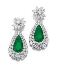 9Ct Pear Cut Emerald Simulant Diamond Dangle Drop Earrings White Gold Fns Silver