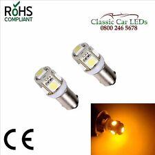 2x BA9S 9 mm AMBRA LED giallo Luce Laterale DASH GAUGE INDICATORE LAMPADINA glb233 glb989