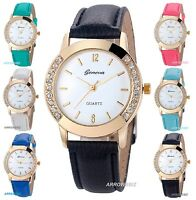Ladies Crystal Diamond Rhinestone Analog Wrist Watch Leather Strap 12 Colors NEW