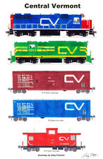 """Central Vermont Freight Train 11""""x17"""" Poster by Andy Fletcher signed"""