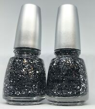 China Glaze Nail Polish Glitz 'n Pieces 1181 Silver Multi Glitter Black Hex Lacq